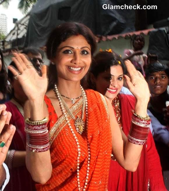 Shilpa Shetty 2014 Pics Traditional Look Ganesh Chaturthi
