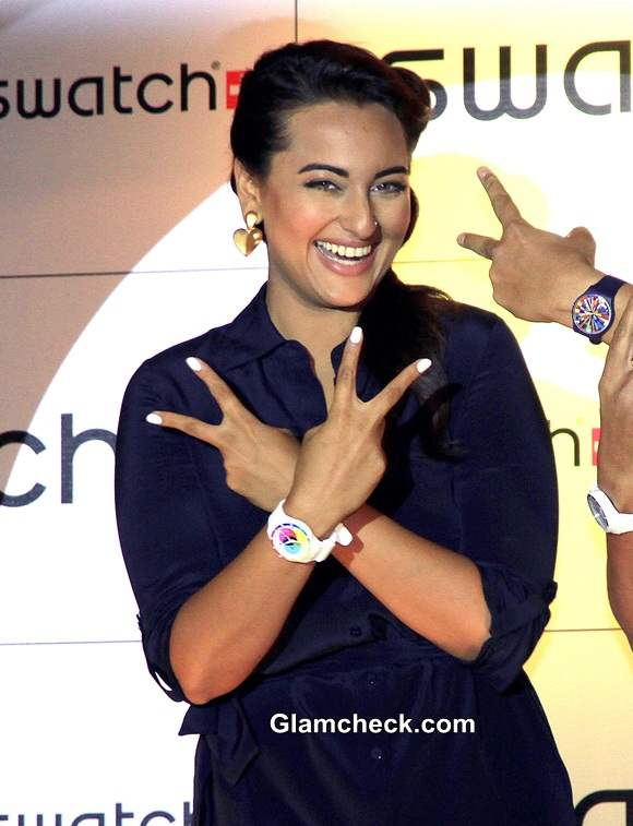 Sonakshi Sinha edgy fashion choice at the launch of Swatch Fall Winter 2014 Collection