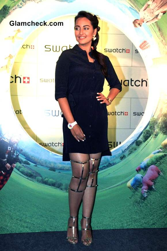 Sonakshi Sinhas edgy fashion choice at the launch of Swatch Fall Winter 2014 Collection