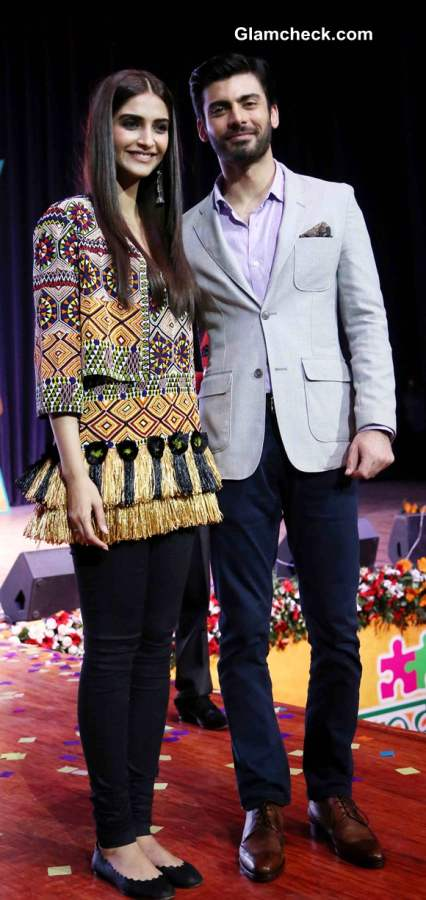 Sonam Kapoor and Fawad Khan during the mascot launch of Sangam