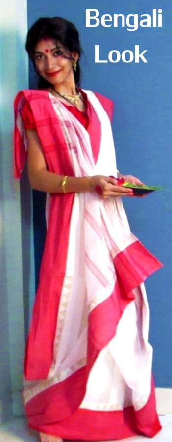 Indian Youtuber Presents Durga Puja Traditional Bengali Look