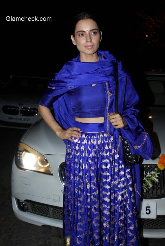 Kangana Ranaut in Sanjay Garg Blue Lehenga at Amitabh Bachchan Diwali party