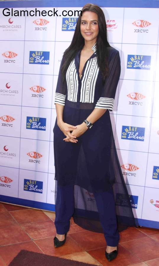 Neha Dhupia in Manish Malhotra during a launch event at Bombay Blue