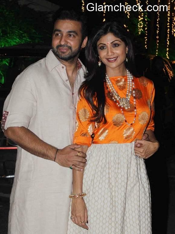 Shilpa Shetty Raj Kundra during their Diwali Party