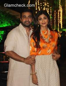 Shilpa Shetty and Raj Kundra during their Diwali Party