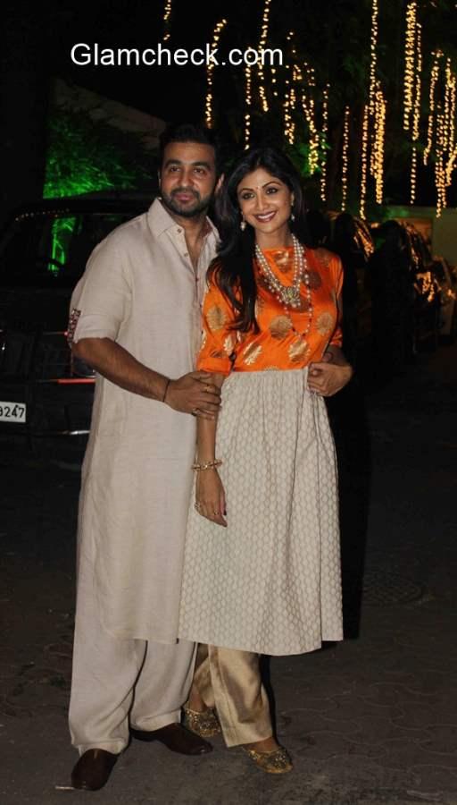 Shilpa Shetty and Raj Kundra during their Diwali Party