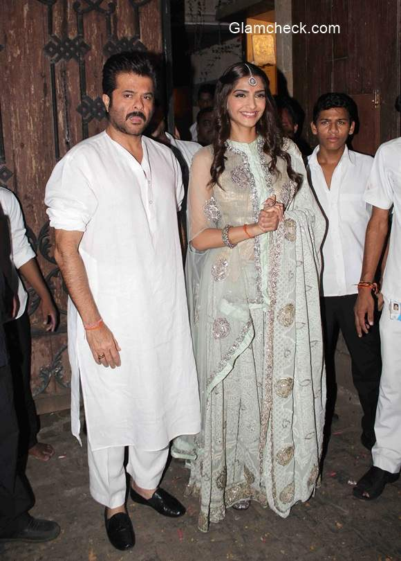 Sonam Kapoor during  Diwali celebration with her father Anil Kapoor