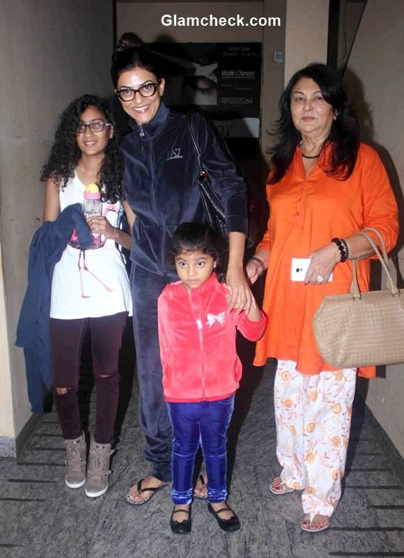 Sushmita Sen along with her daughters Renee Sen and Alisah Sen