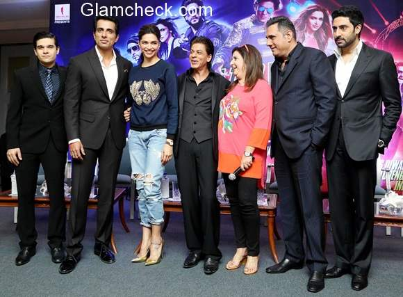 The cast of Happy New Year during a Promotional event in New Delhi