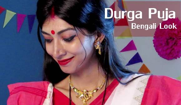 Traditional Bengali Makeup for Durga Puja