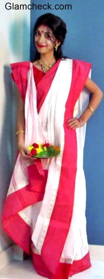 Traditional Bengali Saree for Durga Puja