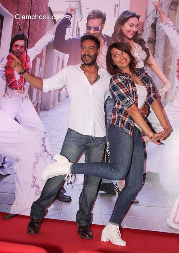 Ajay Devgan and Sonakshi Sinha in film Action Jackson