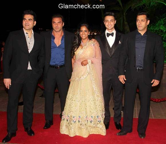 Arpita Khan with her husband Aayush Sharma and Brothers at her Wedding Reception