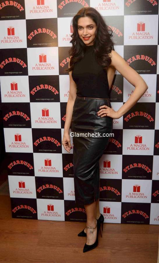 Deepika Padukone in a Nikhil Thampi outfit at the unveiling of Stardust magazine cover