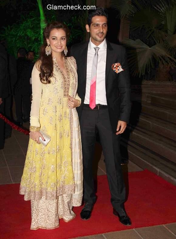 Dia Mirza and Zayed Khan  at Arpita Khan and Aayush Sharma Wedding Reception