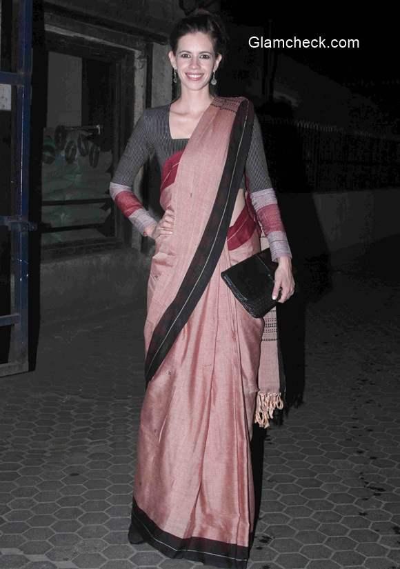 Kalki Koechlin spotted in Fatherland saree outside Prithvi Theatre