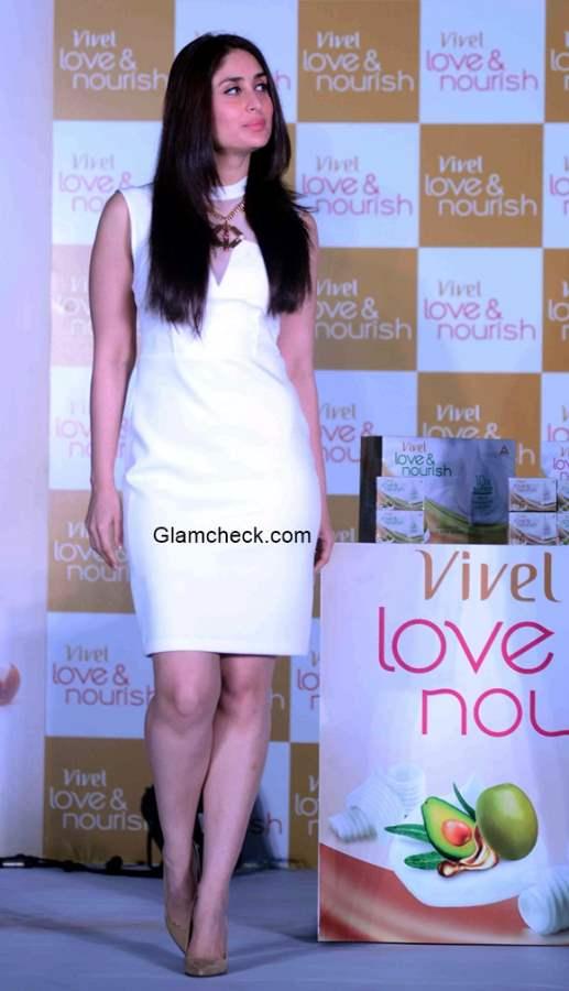 Kareena Kapoor in White Dress at launch of ITC Vivel Love Nourish range