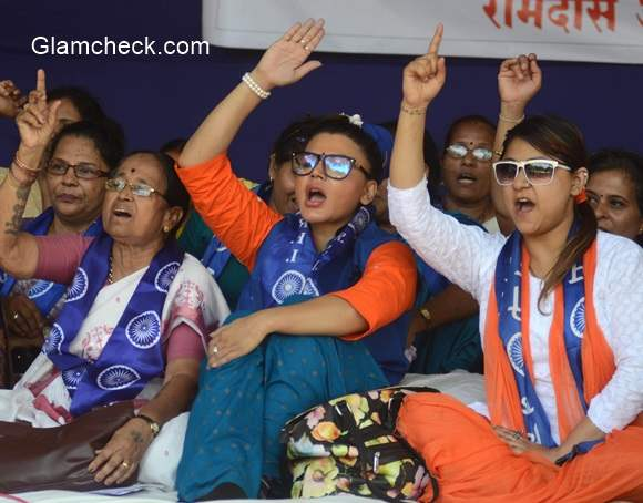 Rakhi Sawant on a hunger strike to protest against murder of a Dalit family in Maharastra