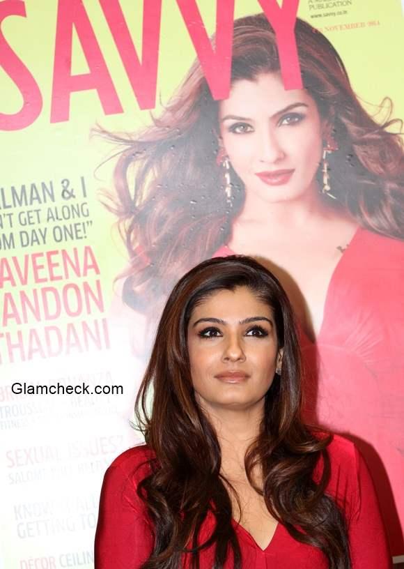 Raveena Tandon 2014 on cover of Savvy magazine