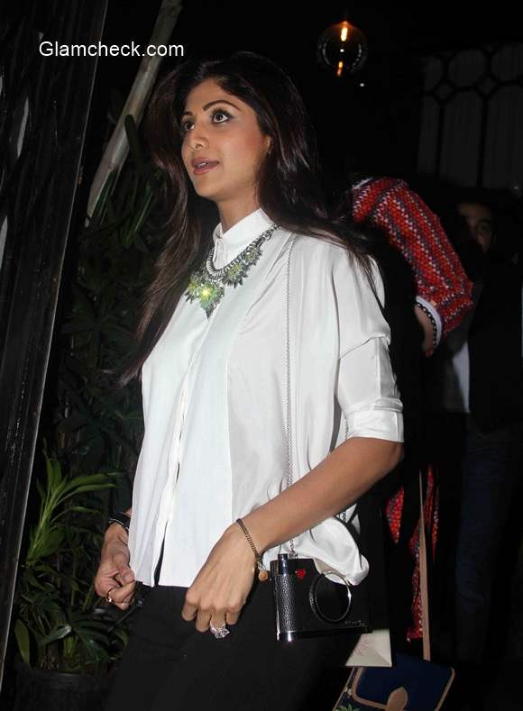 Shilpa Shetty outside a restaurant