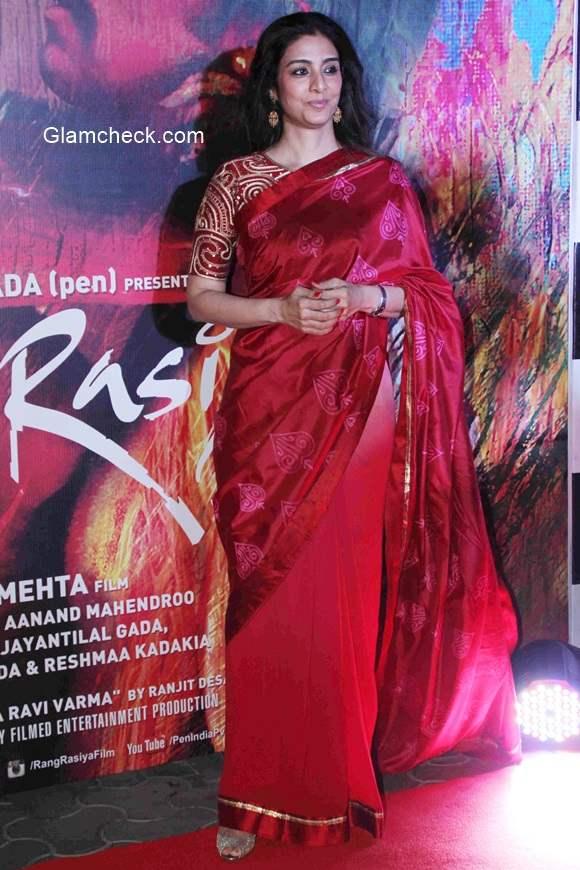Tabu in Red Saree at  the screening of Rang Rasiya