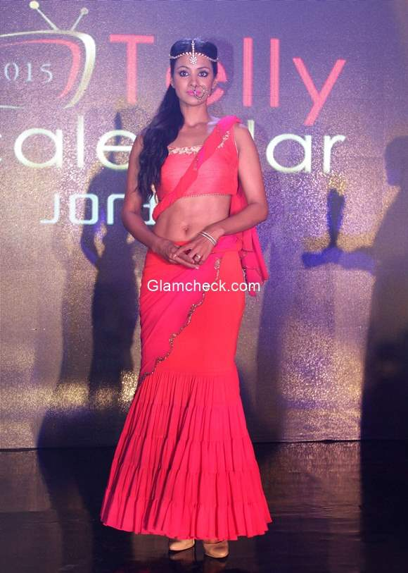Barkha Bisht walks the ramp during the launch of Telly Calender 2015