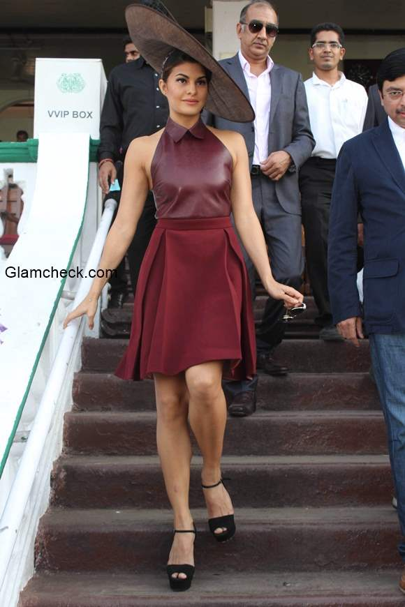 Jacqueline Fernandez in Gucci and Delna Poonawala during the Metro Motors Auto Hanger Sir H M Mehta Million trophy