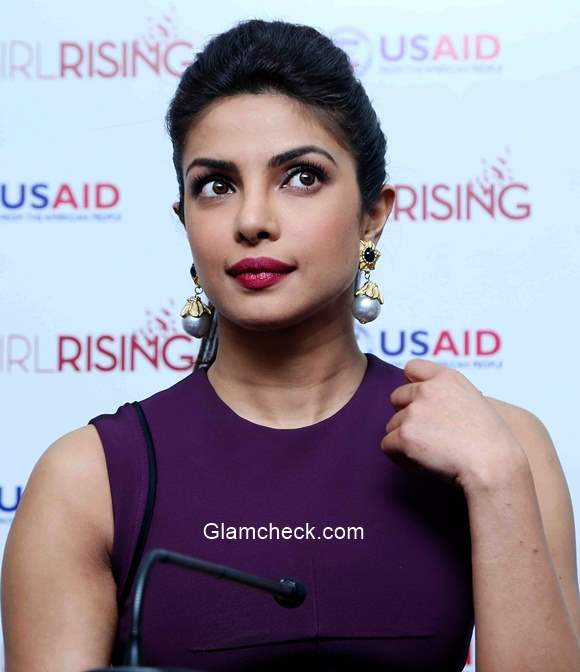 Priyanka Chopra 2014 at launch of Girl Rising Global campaign for Girls education