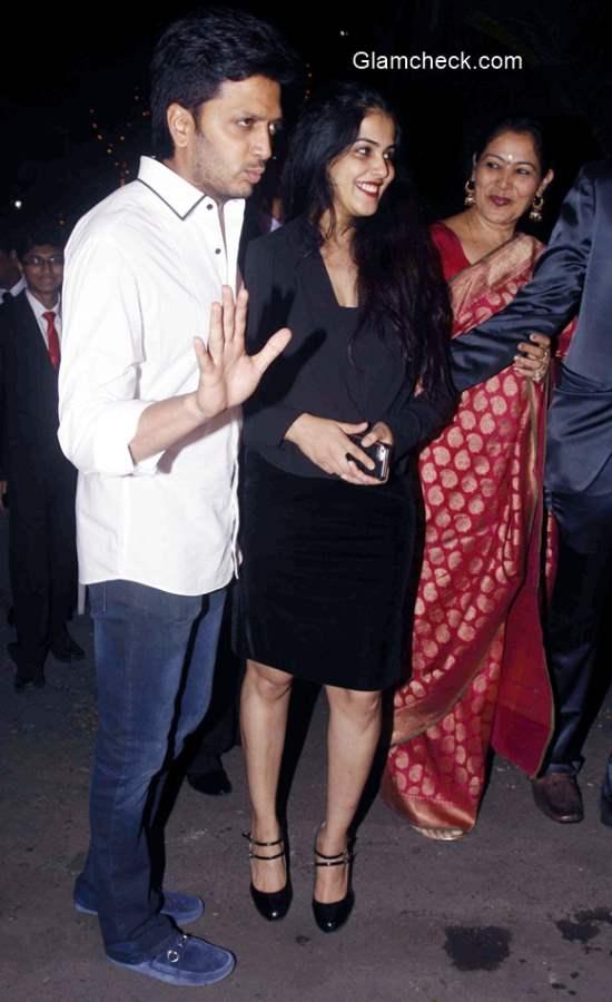 Riteish Deshmukha and Genelia DSouza attends the Midnight Mass on Christmas Eve