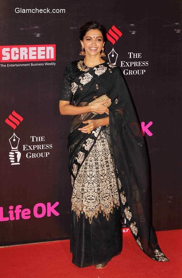 Deepika Padukone in Saree 2015 Annual Life OK Screen Awards