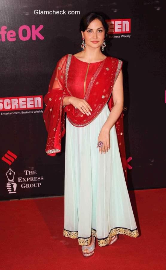 Elli Avram in Anarkali suit at 21st Annual Life OK Screen Awards