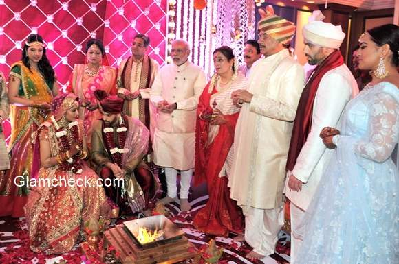 Indian Prime Minister Narendra Modi attends the wedding nuptial of Shatrughan Sinhas son Kush with Taruna Agarwal