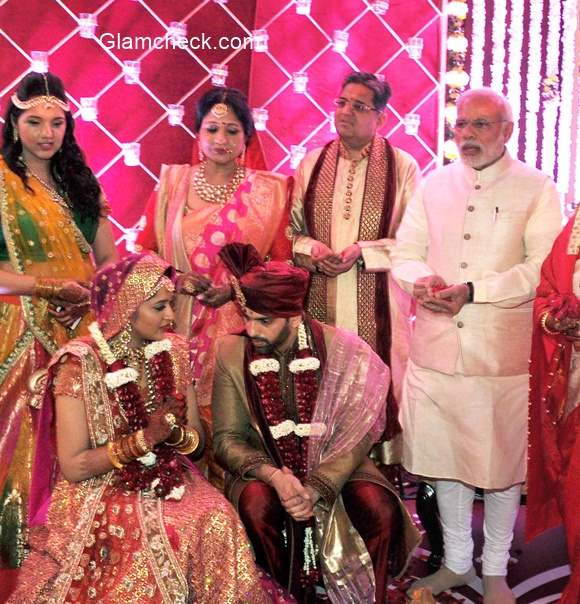 Indian Prime Minister Narendra Modi attends the wedding of Shatrughan Sinhas son Kush with Taruna Agarwal