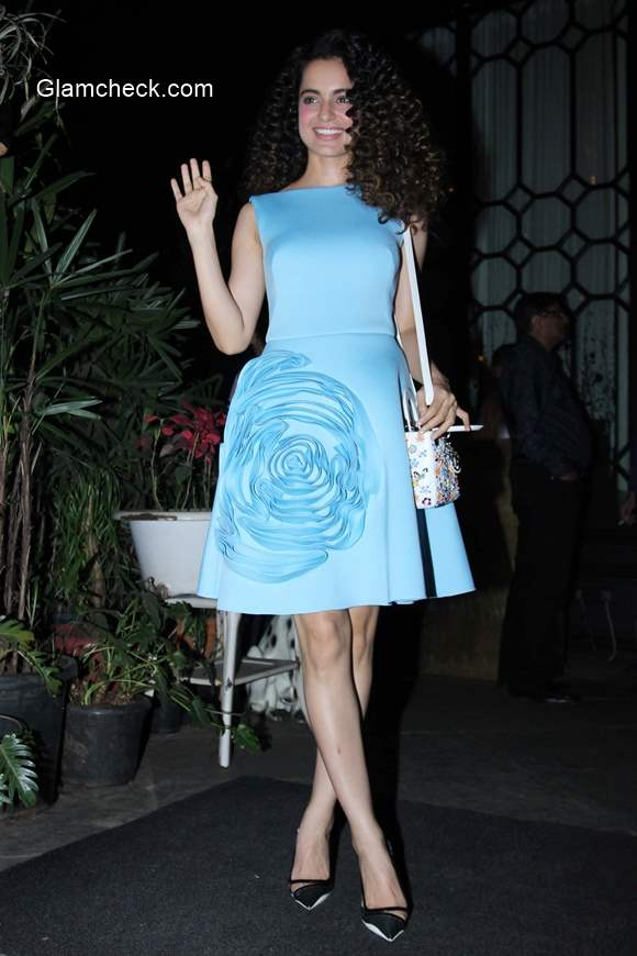 Kangana Ranaut in Gauri and Nainika Blue Dress 2015