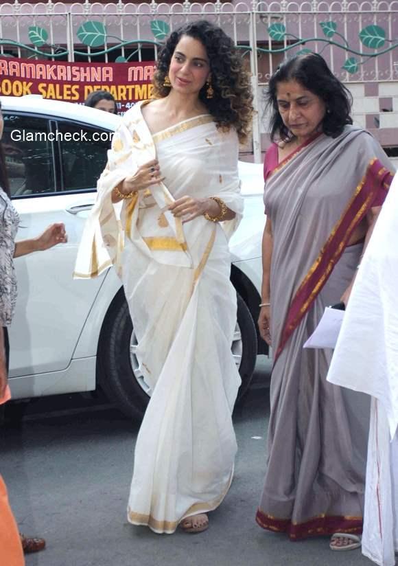 Kangna Ranaut in White Saree with Golden Border