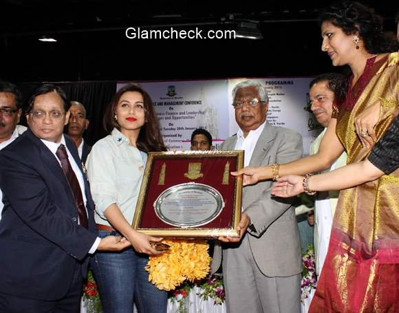 Rani Mukherjee felicitated during the International Conference on Commerce and Management