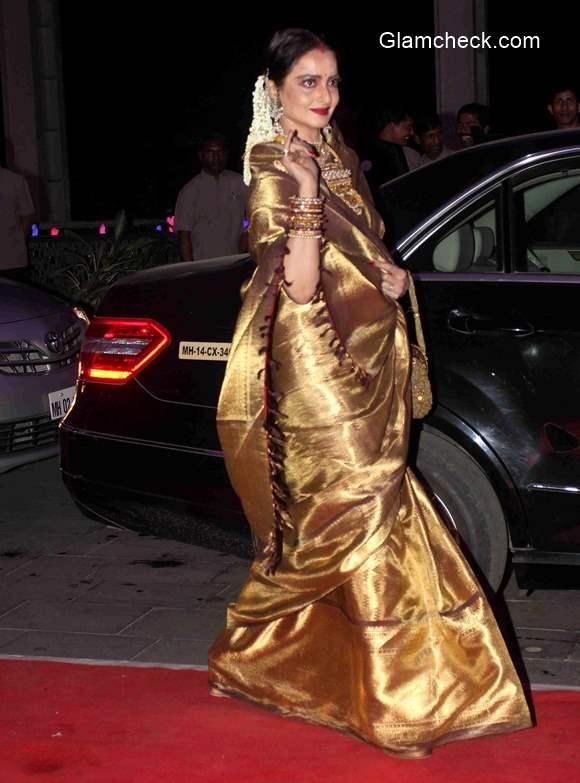 Rekha attends Shatrugan Sinha son Kush wedding reception