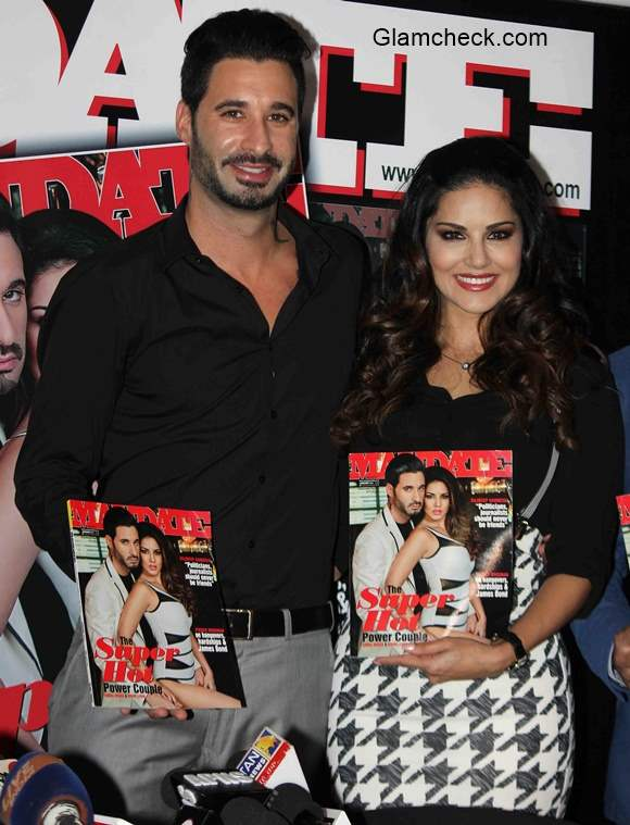 Sunny Leone and Daniel Weber at the cover launch of Mandate magazine January 2015 issue