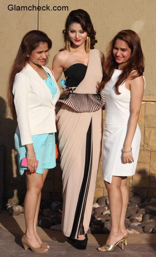 Urvashi Rautela with fashion designers Riddhi and Siddh