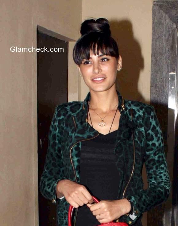 Nargis Fakhri hairstyle bangs 2015