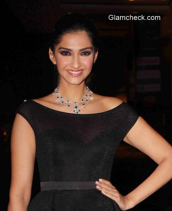 Sonam Kapoor in black dress 2015
