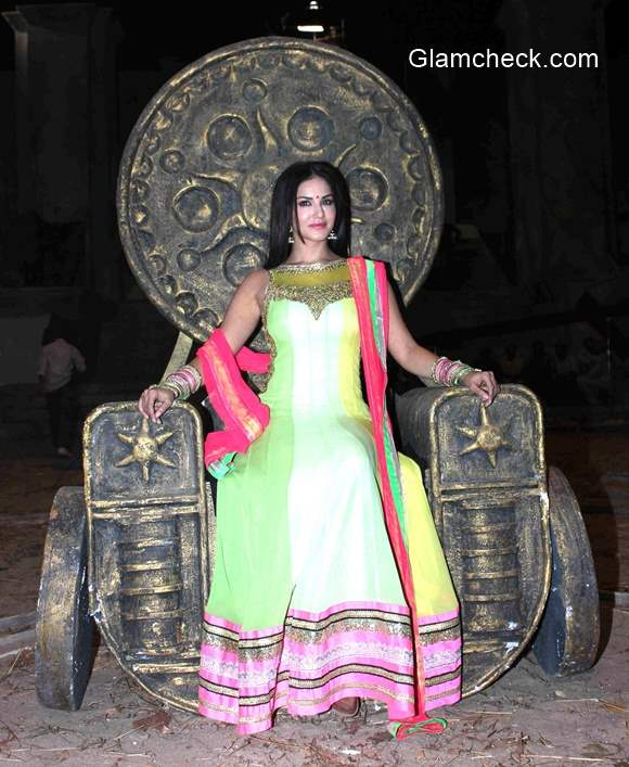 Sunny Leone goes desi during the media interactions of her film Leela