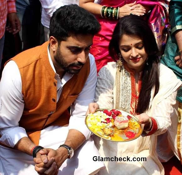 Abhishek Bachchan and Aishwarya Rai Bachchan celebrate Gudi Padwa