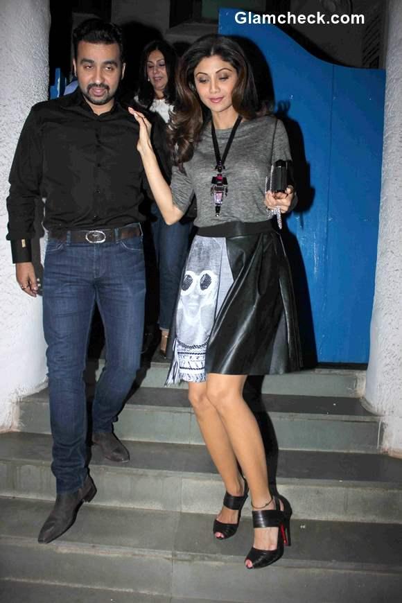 Celeb spotted - Shilpa Shetty along with her husband Raj Kundra