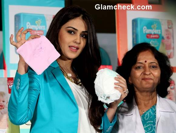 Genelia Deshmukh during the promotion of Pampers baby dry pants