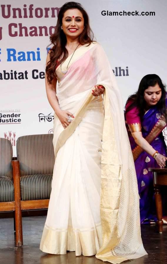 Get the look – Rani Mukherjee white and gold saree