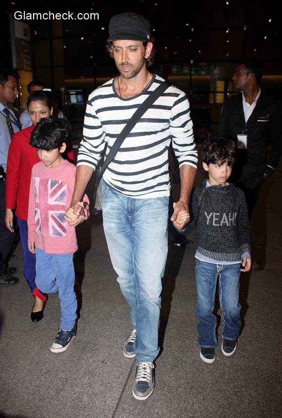 Hrithik Roshan spotted along with his sons Hrehaan and Hridhaan at Mumbai airport