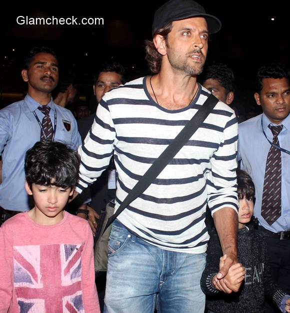 Hrithik Roshan spotted with his sons Hrehaan and Hridhaan