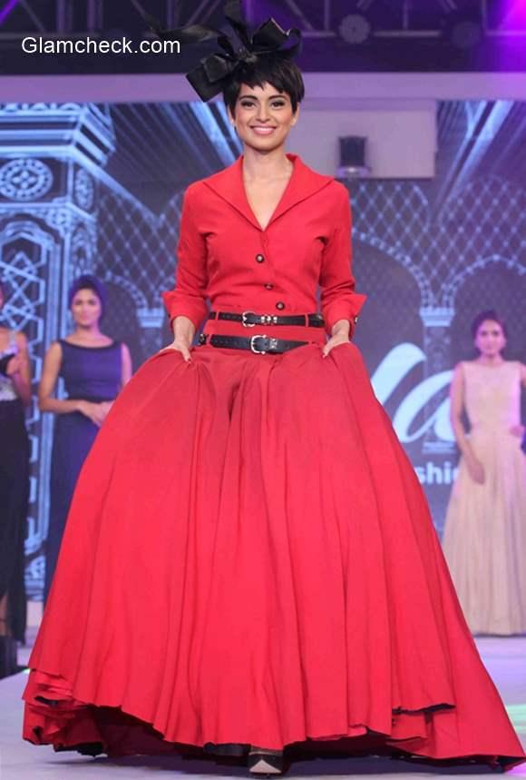 Kangana Ranaut walks the ramp at the launch of Birla Cellulose LIVA