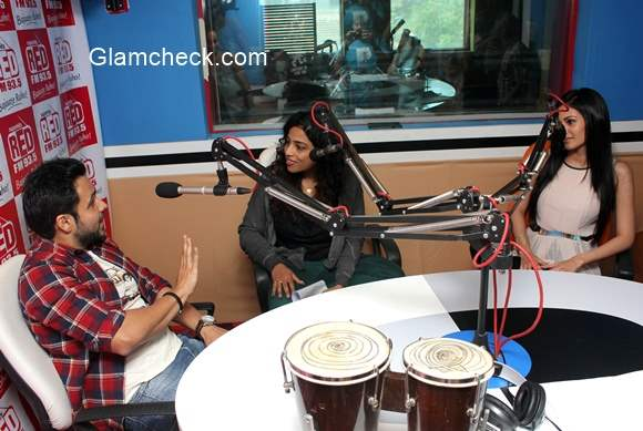 Emraan Hashmi and Amyra Dastur with RJ Malishka for the promotion of Mr. X at Red FM